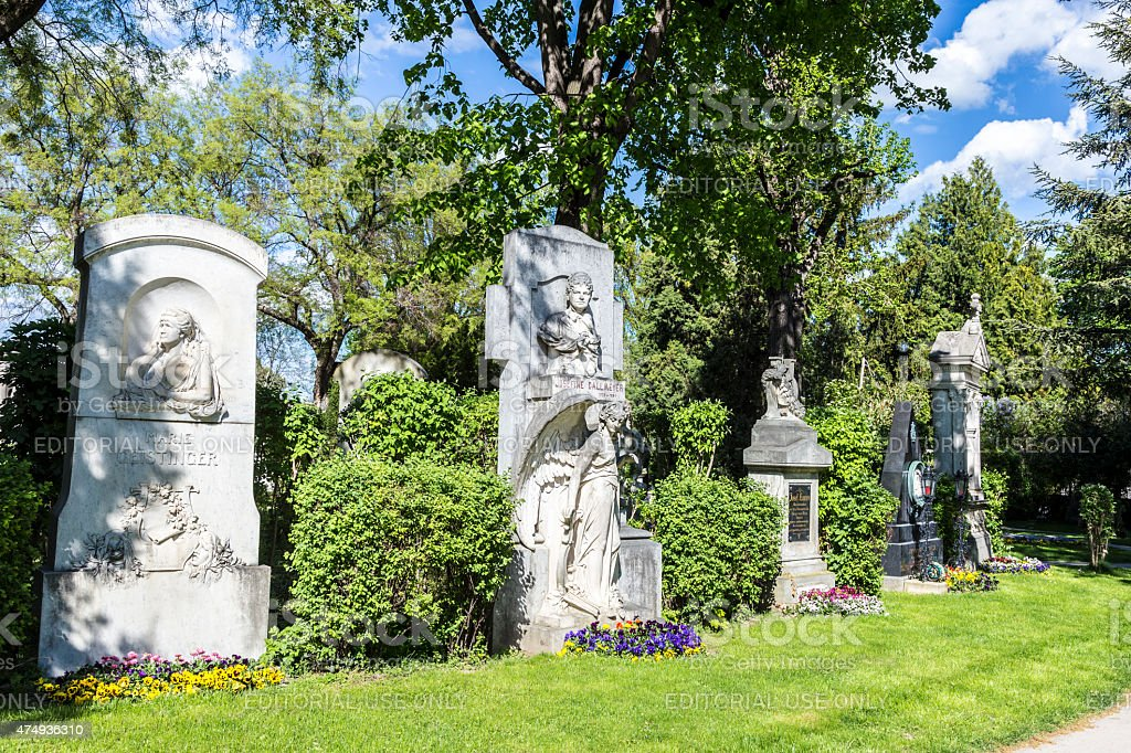 Last Resting Place of famous people at the Vienna Cemetery stock photo