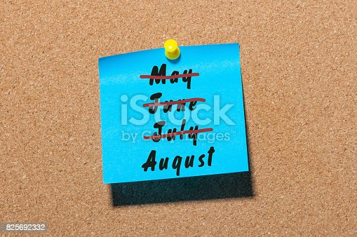 istock Last summer month - August beginning. Striked May, June, July 825692332