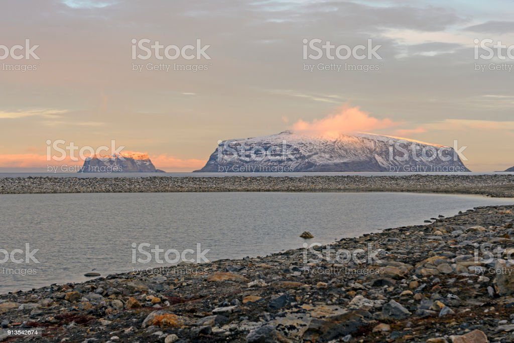 Last Sun on the Arctic Islands stock photo
