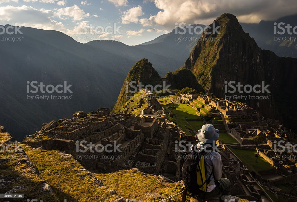 Last sunlight on Machu Picchu, Peru stock photo