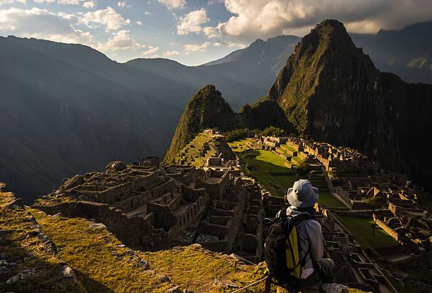 Last sunlight on Machu Picchu, Peru stock photo
