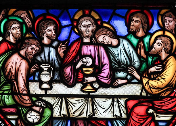 Last Supper - Stained Glass stock photo