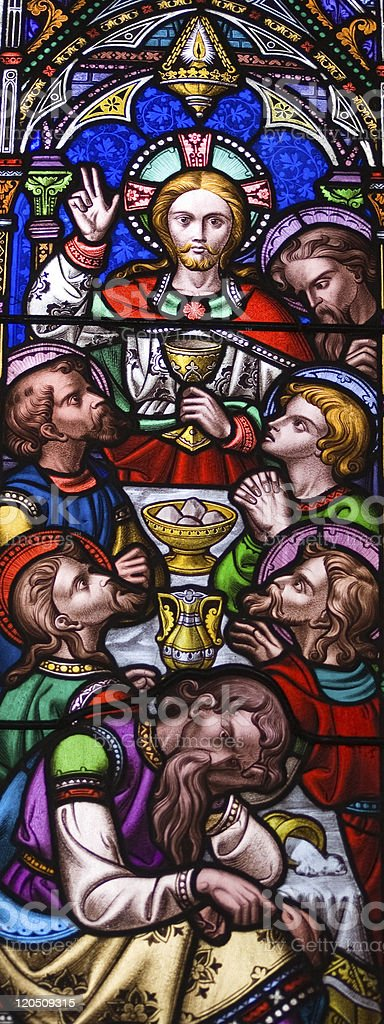 Last Supper stained glass window stock photo