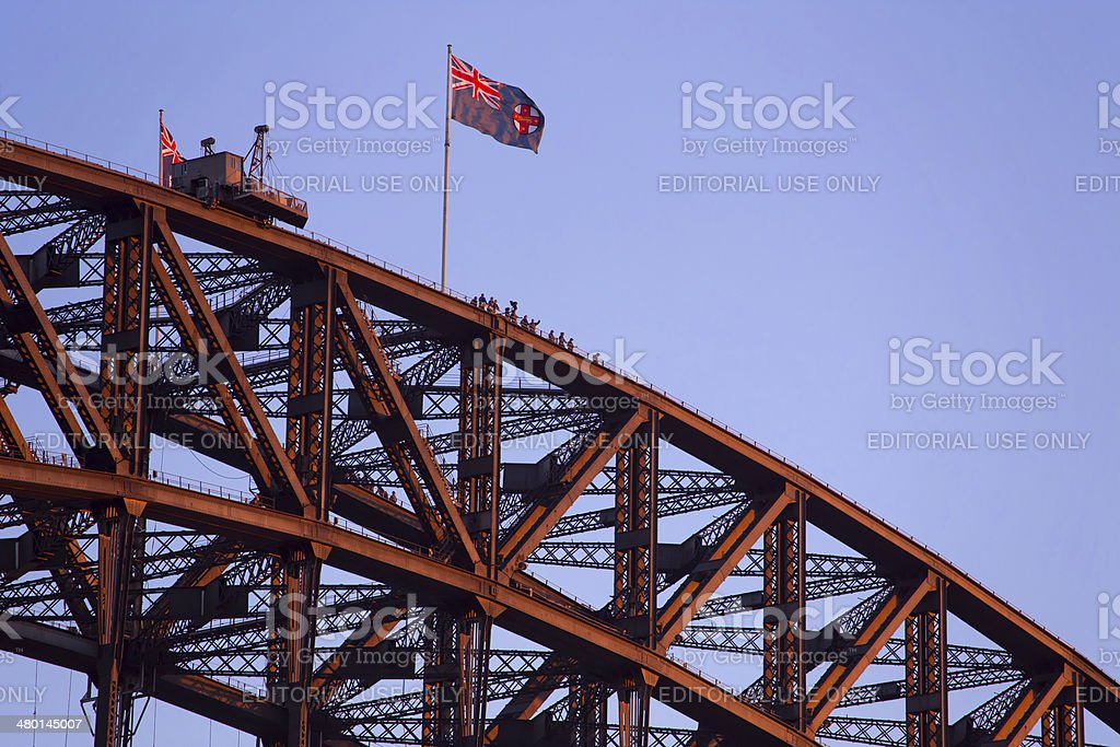 Last Sydney Harbour Bridge climb before sunset royalty-free stock photo