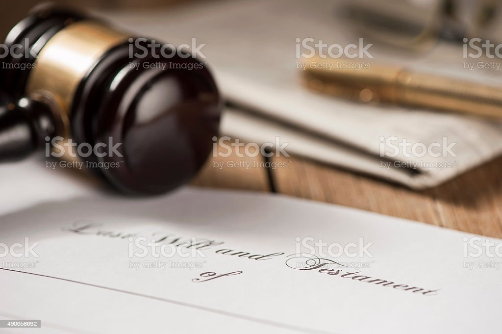 Last will and testament form with gavel stock photo
