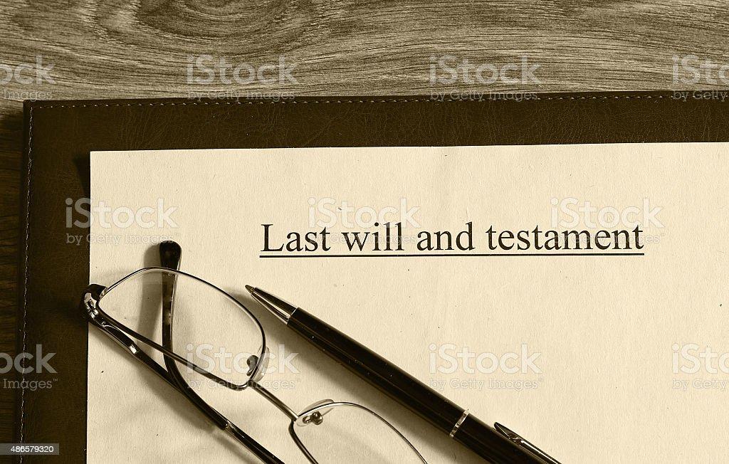 last will and testament glasses pen stock photo