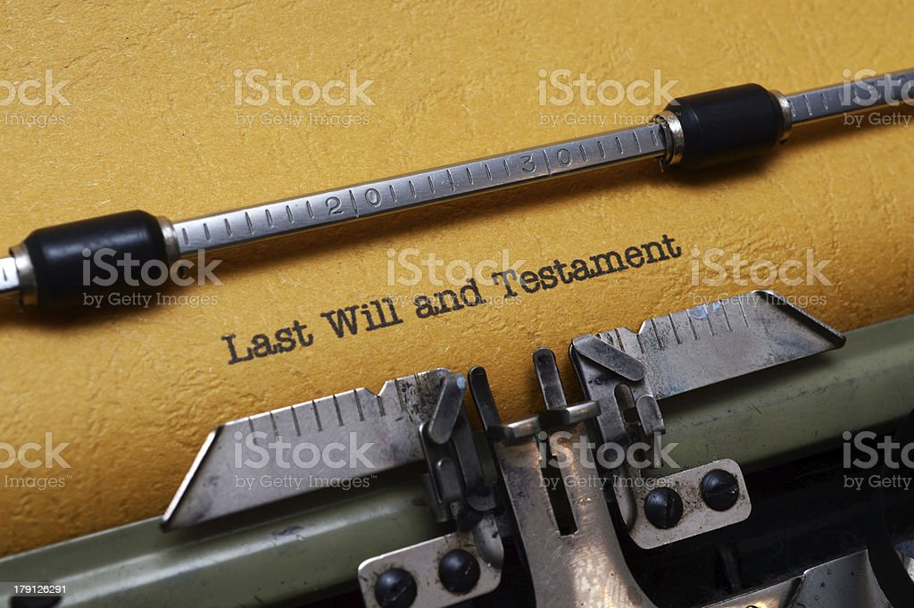 Last will and testament on typewriter royalty-free stock photo
