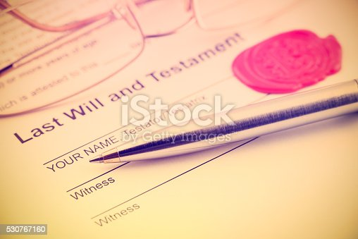 584597964 istock photo Last will and testament sealed with wax seal. 530767160