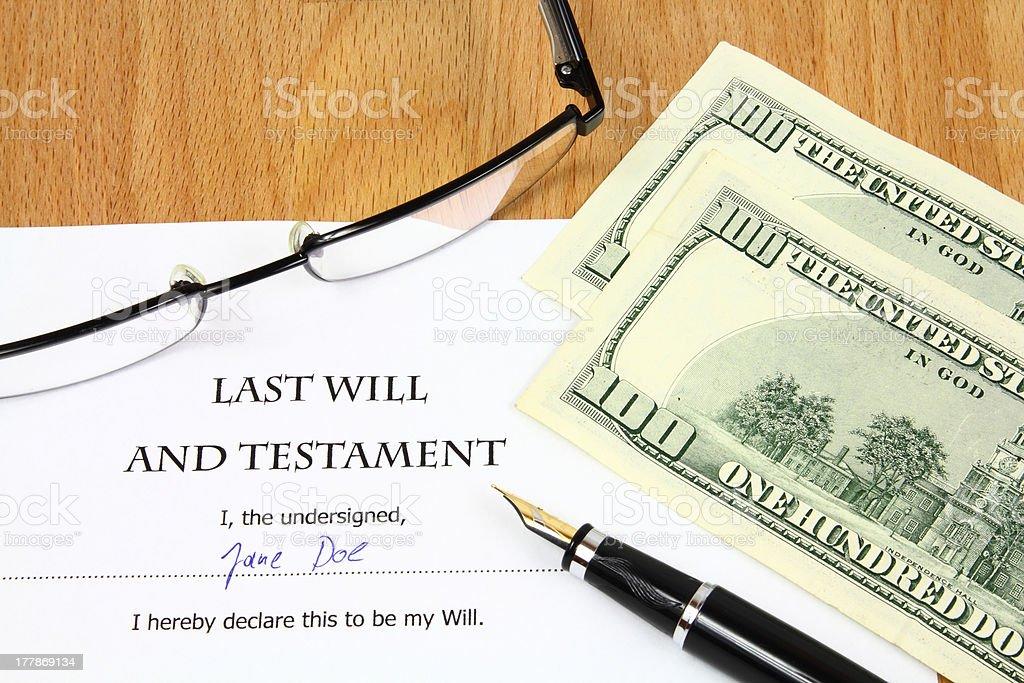 Last Will royalty-free stock photo