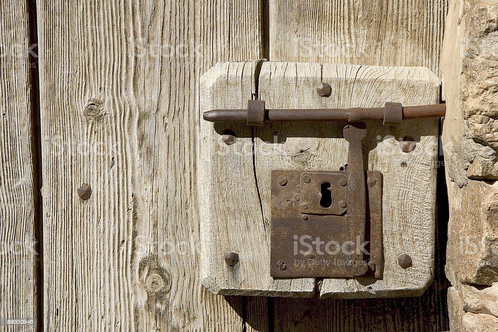 Latch and keyhole stock photo
