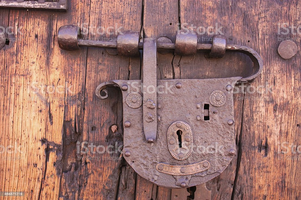 Latch or lock old. Colonial home stock photo