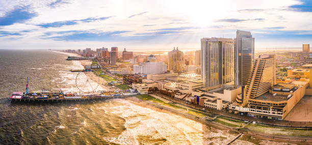 Late afternoon aerial panorama of Atlantic City