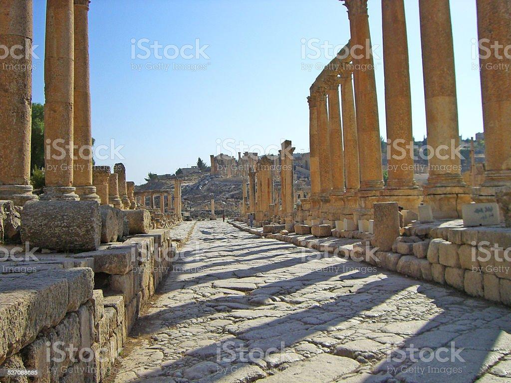 Late afternoon at Jerash, Jordan stock photo