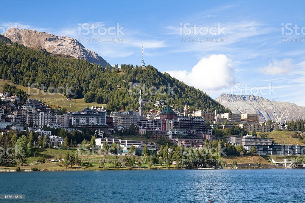 Late Afternoon at St.Moritz, Engadine, Switzerland stock photo