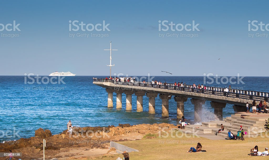 Late afternoon at the Humewood Pier Port Elizabeth South Africa stock photo