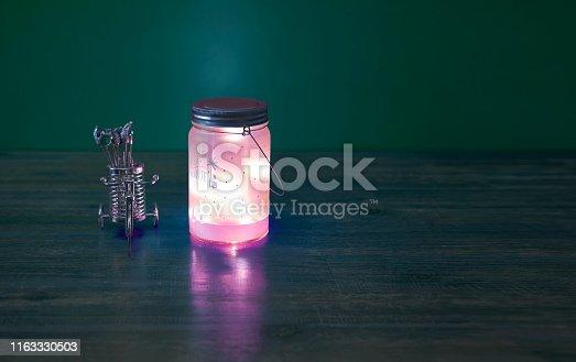 Collar background, decorative bike, lantern, wooden table,