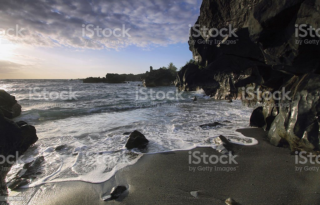Late afternoon in the beach in Waianapanapa State stock photo