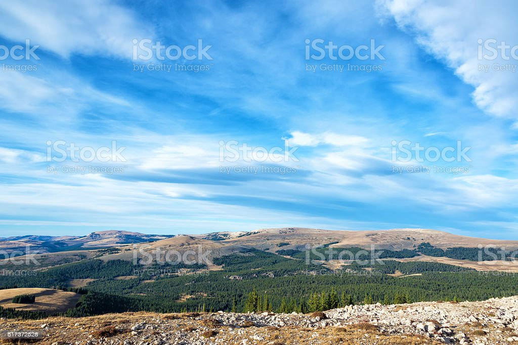 Late Afternoon Landscape in Wyoming stock photo