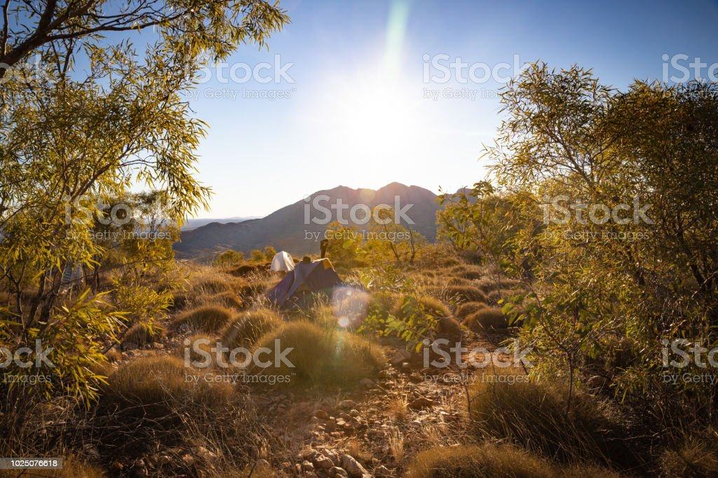 Late afternoon light shines across the desert in Central Australia stock photo
