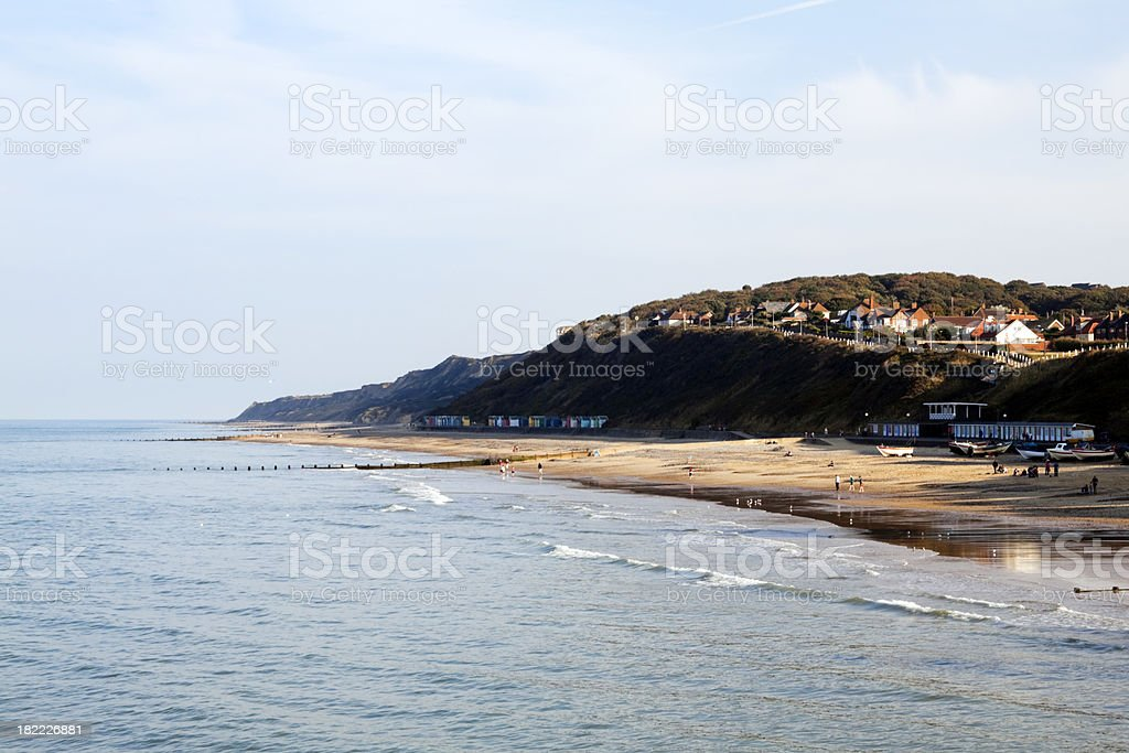 Late afternoon on Cromer beach stock photo