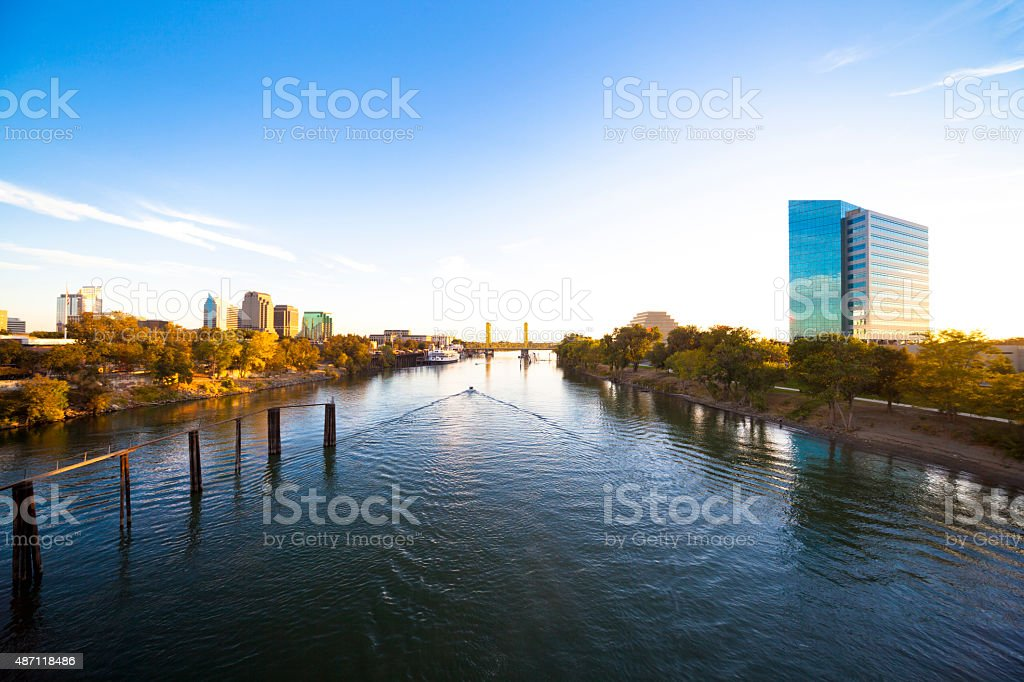 Late Afternoon over Sacramento River stock photo