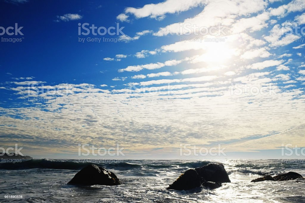 Late afternoon sky with gathering cloud formation stock photo