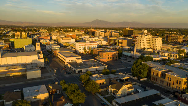 Late Afternoon Sun Hits the Architecture and Landscape in and around Bakersfield California stock photo