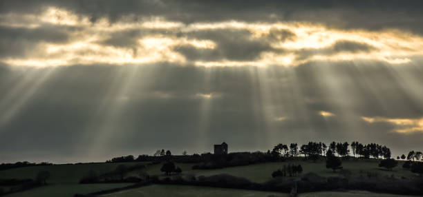 Late Afternoon Sunrays over Engine House, Cornwall stock photo