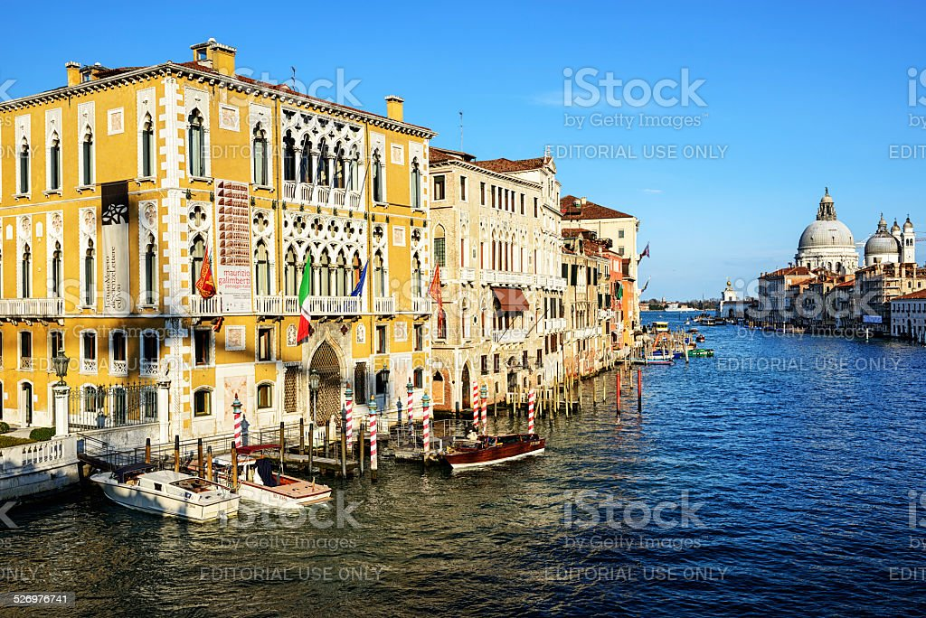 Late afternoon view of Grand Canal, Venice stock photo