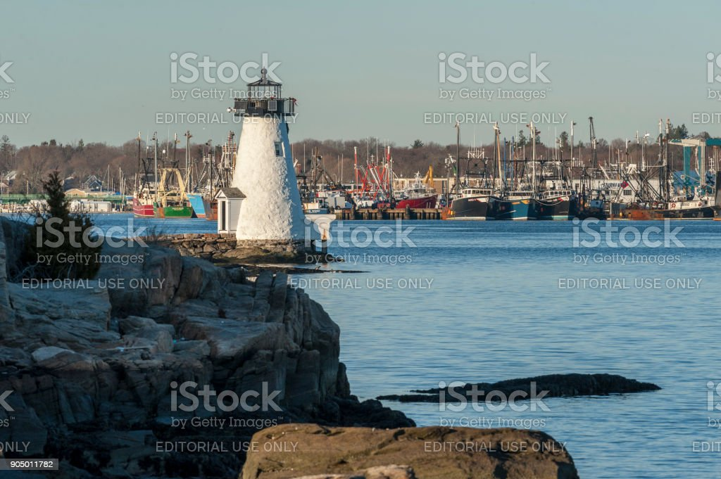 Late afternoon view of Palmer's Island lighthouse stock photo