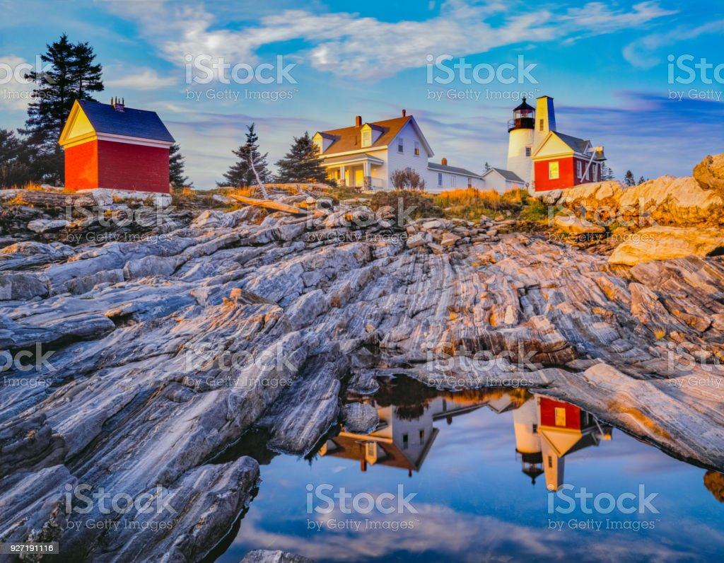 Late afternoon view of the lighthouse at Pemaquid Point, Maine stock photo
