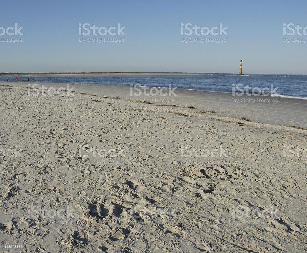 Late autumn afternoon near Morris Island Lighthouse stock photo