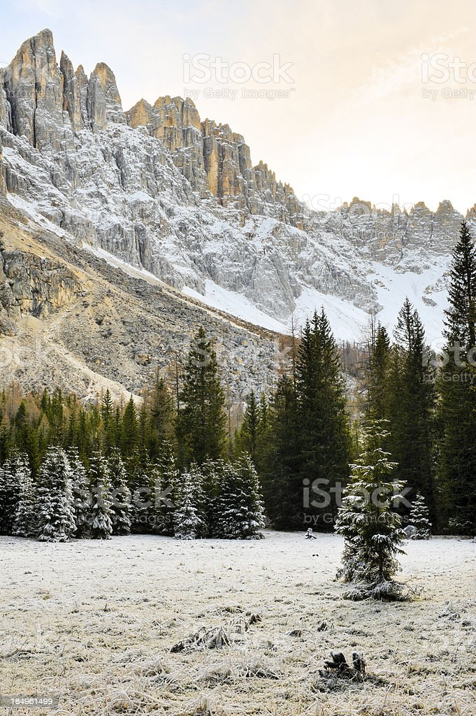 Late autumn in the Dolomites, Alps. stock photo