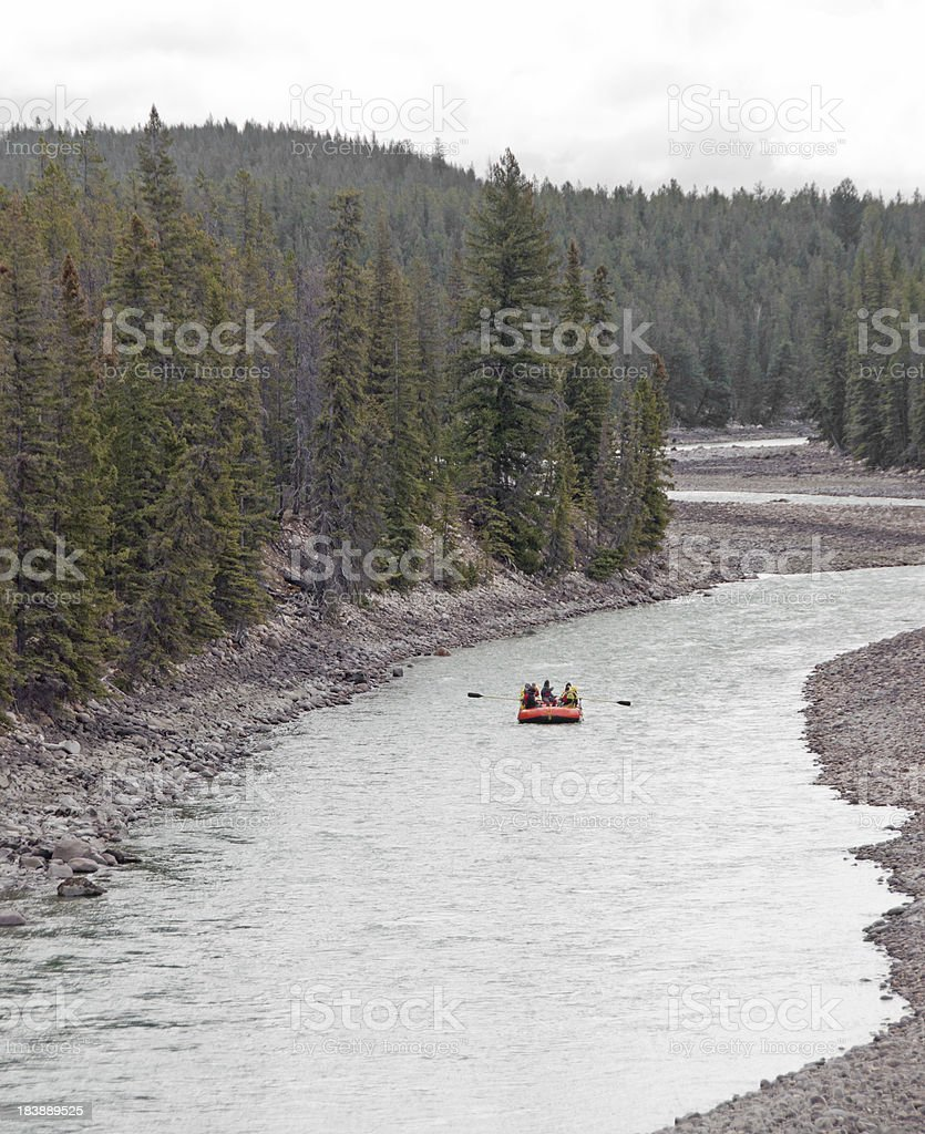 Late Day Mountain River Rafting for Seniors stock photo