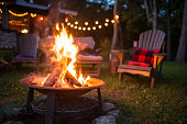 istock Late evening campfire at a beatiful canadian chalet 819949828