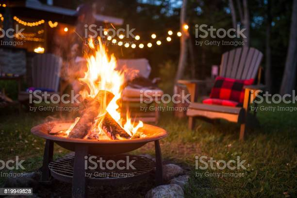 Photo of Late evening campfire at a beatiful canadian chalet