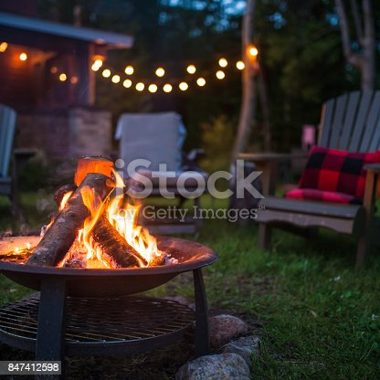 Late evening campfire at a beatiful canadian chalet