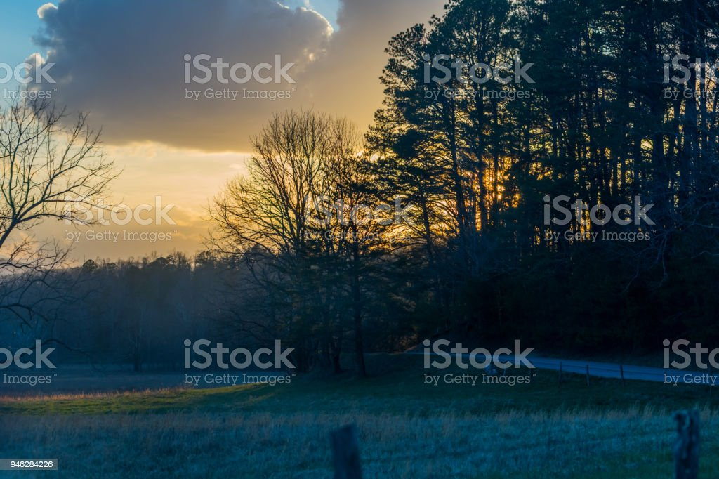 Late Evening Colors in Cades Cove stock photo