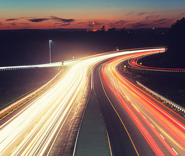 Late Evening Highway Traffic stock photo
