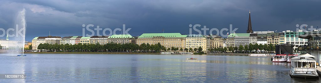 Late evening sun at the Binnenalster stock photo
