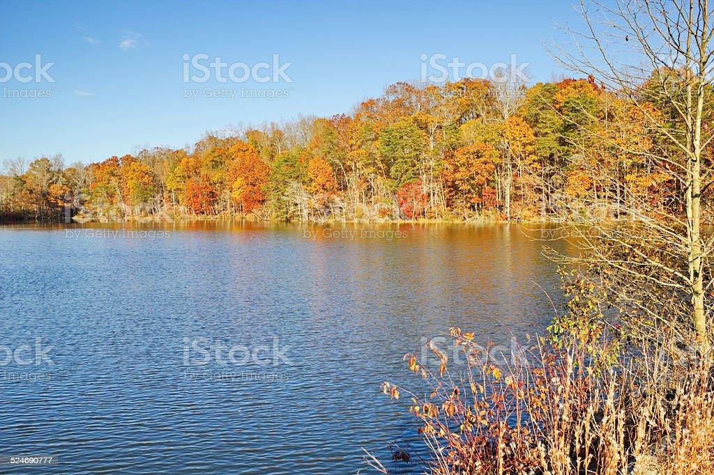 Late Fall Views around Salem Lake, Kernersville, NC. stock photo