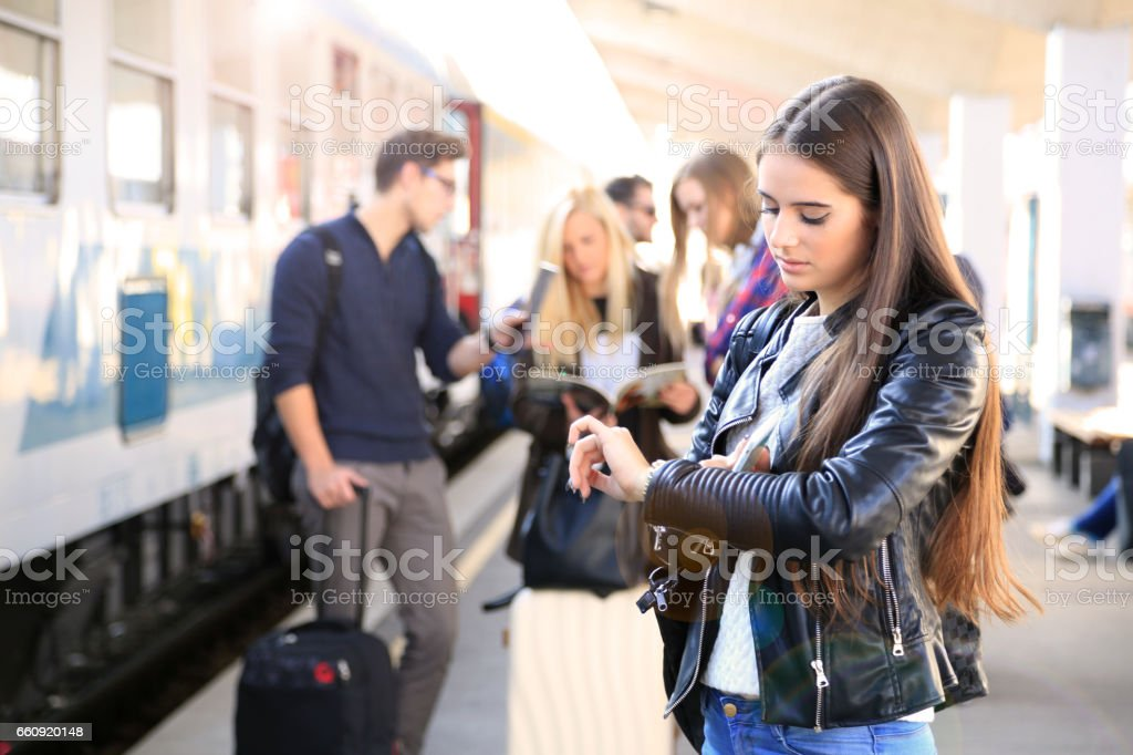 Late for class, train is late again stock photo