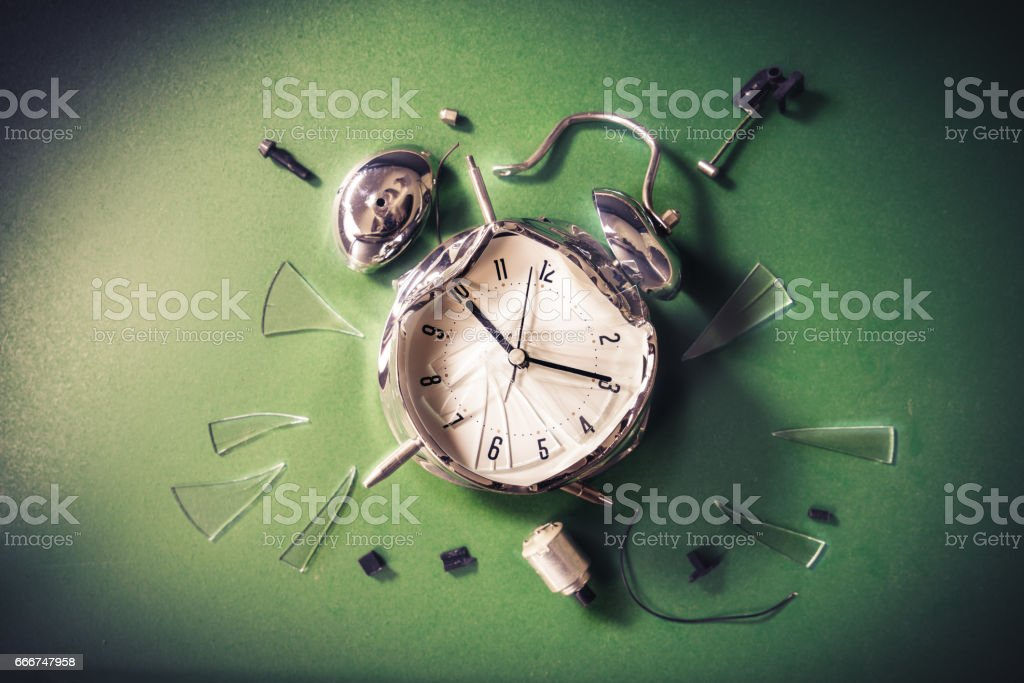 late for school concept with alram clock on a blackboard foto stock royalty-free