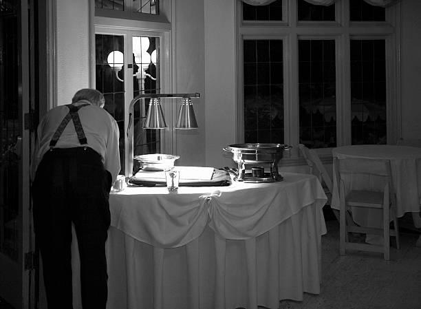 später für den empfang – schwarz und weiß - esszimmer buffet stock-fotos und bilder