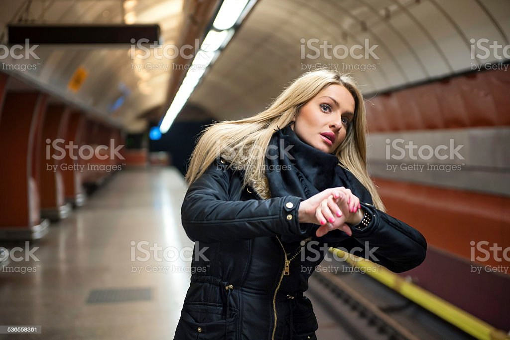 Late for work stock photo
