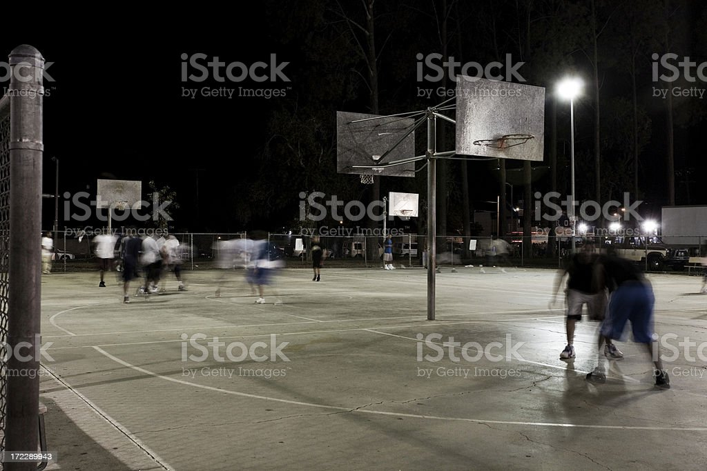 Late Night Basketball In Los Angeles, California stock photo