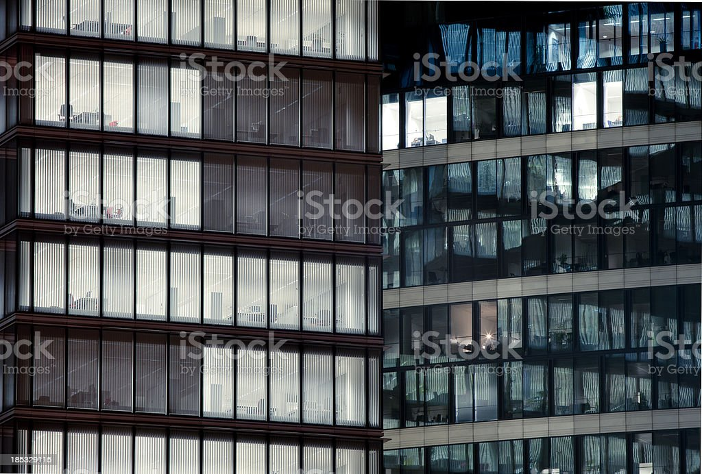 Late night overtime in a modern office building. royalty-free stock photo