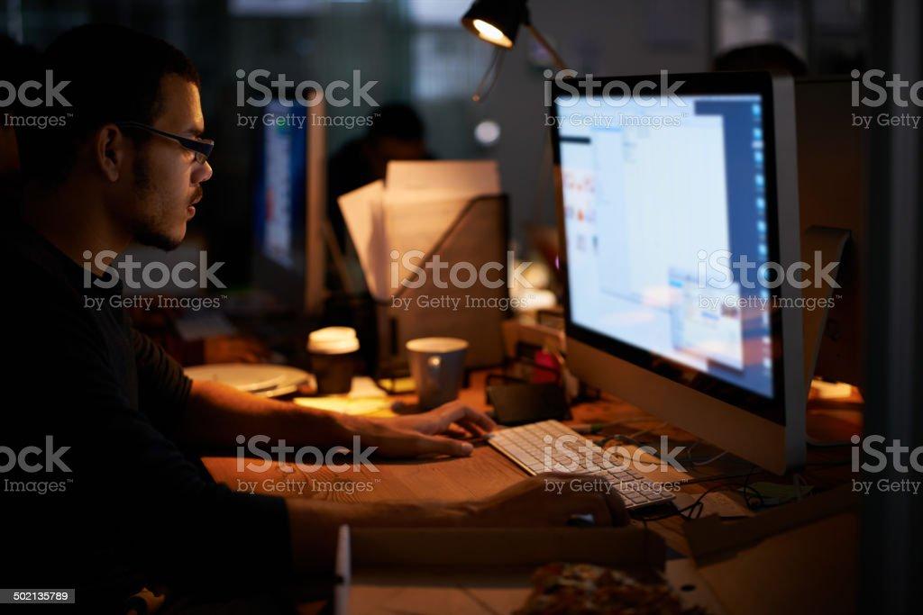 Late night programming... stock photo