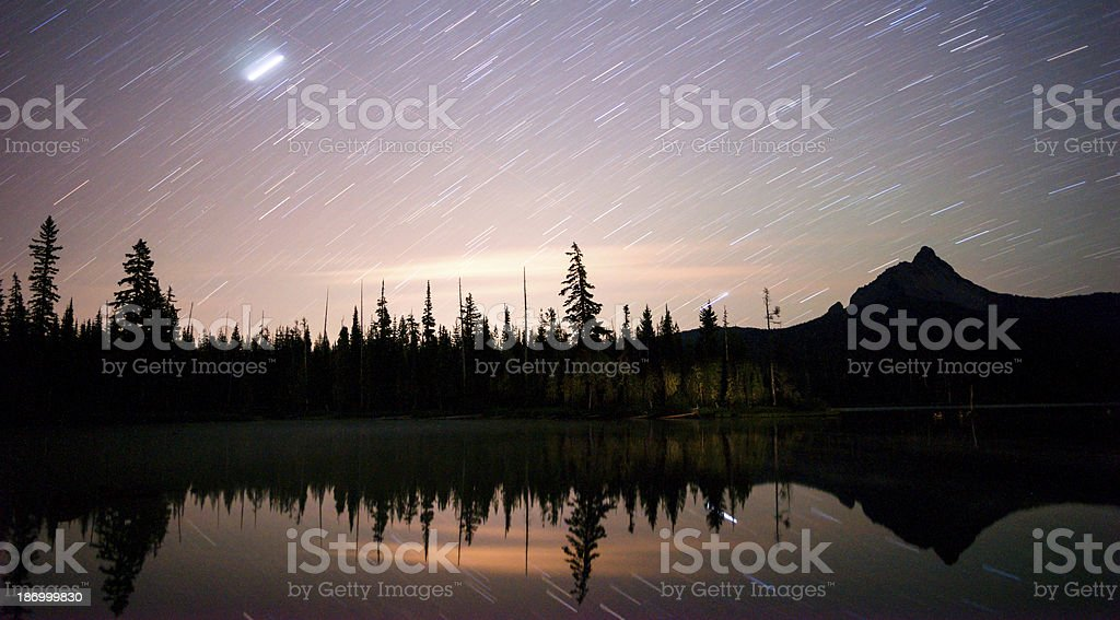Late Night Star Trails Oregon Mountain Lake Landscape Long Exposure stock photo
