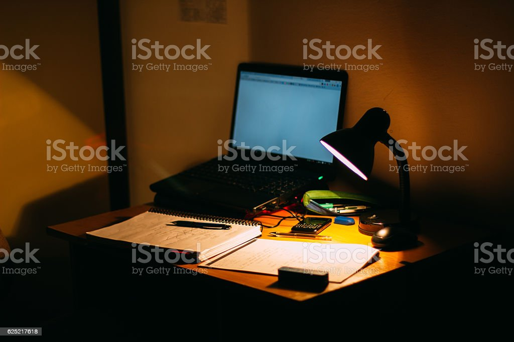 Late Night Study stock photo